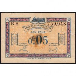 R.C.F.T.O. - Pirot 135-1 - Série B.8 - 5 centimes - 1923 - Etat : TB
