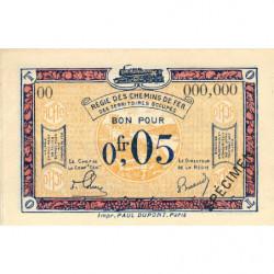 R.C.F.T.O. - Pirot 135-1 - Spécimen - 5 centimes - 1923 - Etat : NEUF