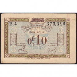 R.C.F.T.O. - Pirot 135-2 - Série B.4 - 10 centimes - 1923 - Etat : TTB