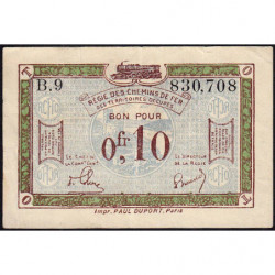 R.C.F.T.O. - Pirot 135-2 - Série B.9 - 10 centimes - 1923 - Etat : TTB+