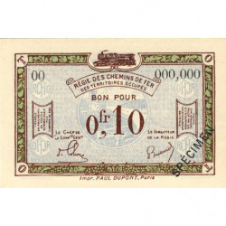 R.C.F.T.O. - Pirot 135-2 - Spécimen - 10 centimes - 1923 - Etat : NEUF