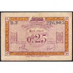 R.C.F.T.O. - Pirot 135-3 - Série B.3 - 25 centimes - 1923 - Etat : TB