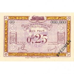 R.C.F.T.O. - Pirot 135-3 - Spécimen - 25 centimes - 1923 - Etat : NEUF