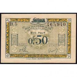 R.C.F.T.O. - Pirot 135-4 - Série B.5 - 50 centimes - 1923 - Etat : TTB+