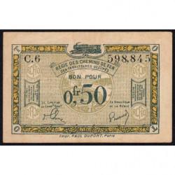 R.C.F.T.O. - Pirot 135-4 - Série C.6 - 50 centimes - 1923 - Etat : TTB+