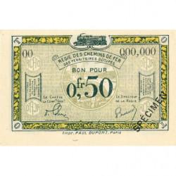 R.C.F.T.O. - Pirot 135-4 - Spécimen - 50 centimes - 1923 - Etat : NEUF