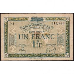 R.C.F.T.O. - Pirot 135-5 - Série D.4 - 1 franc - 1923 - Etat : TB