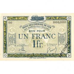 Allemagne - R.C.F.T.O. - Pirot 135-5 - Spécimen - 1 franc - 1923 - Etat : NEUF