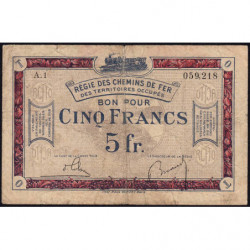 R.C.F.T.O. - Pirot 135-6 - Série A.1 - 5 francs - 1923 - Etat : B+