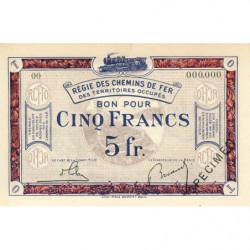 R.C.F.T.O. - Pirot 135-6 - Spécimen - 5 francs - 1923 - Etat : NEUF