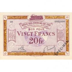 Allemagne - R.C.F.T.O. - Pirot 135-8 - Spécimen - 20 francs - 1923 - Etat : NEUF
