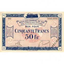 Allemagne - R.C.F.T.O. - Pirot 135-9 - Spécimen - 50 francs - 1923 - Etat : NEUF