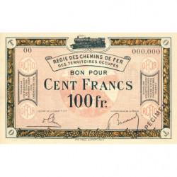 Allemagne - R.C.F.T.O. - Pirot 135-10 - Spécimen - 100 francs - 1923 - Etat : NEUF