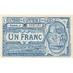 Auch (Gers) - Pirot 15-10 - 1 franc - Série J - 16/12/1916 - Etat : NEUF