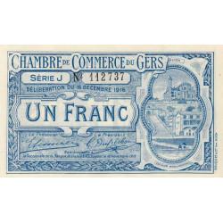 Auch (Gers) - Pirot 15-10b - Série J - 1 franc - 1916 - Etat : NEUF