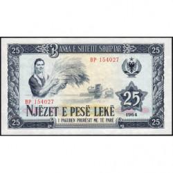 Albanie - Pick 37a - 25 lekë - Série BP - 1964 - Etat : NEUF