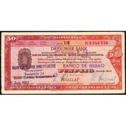 Allemagne RFA - Chèque Voyage - Dresdner Bank - 50 DM - 1962 - Etat : TTB+