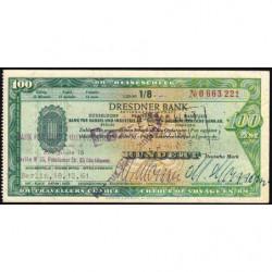 Allemagne RFA - Chèque Voyage - Dresdner Bank - 100 DM - 1961 - Etat : SUP