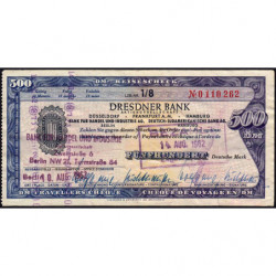 Allemagne RFA - Chèque Voyage - Dresdner Bank - 500 DM - 1962 - Etat : TTB-