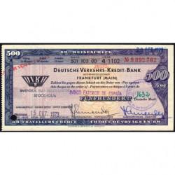 Allemagne RFA - Chèque Voyage - Deutsche Verkehrs-Kredit-Bank - 500 DM - 1973 - Etat : SUP