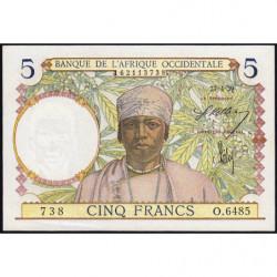 AOF - Pick 21_2d - 5 francs - 27/04/1939 - Etat : SPL+