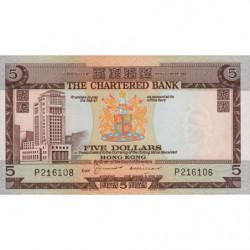 Hong Kong - Pick 73b2 - The Chartered Bank - 5 dollars - 1974 - Etat : NEUF