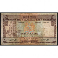Hong Kong - Pick 73b3 - The Chartered Bank - 5 dollars - 01/06/1975 - Etat : B