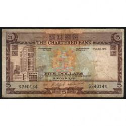 Hong Kong - Pick 73b3 - The Chartered Bank - 5 dollars - 01/06/1975 - Etat : B