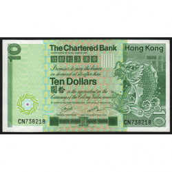 Hong Kong - Pick 77b - The Chartered Bank - 10 dollars - 01/01/1981 - Etat : SUP+