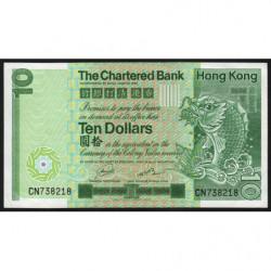 Hong Kong - Pick 77b - The Chartered Bank - 10 dollars - 01/01/1981 - Etat : SUP+