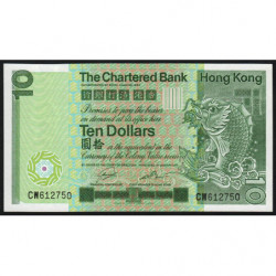 Hong Kong - Pick 77b - The Chartered Bank - 10 dollars - 01/01/1981 - Etat : NEUF