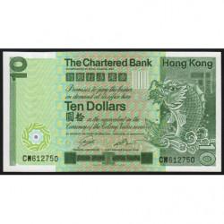 Hong Kong - Pick 77b - The Chartered Bank - 10 dollars - 01/01/1981 - Etat : NEUF