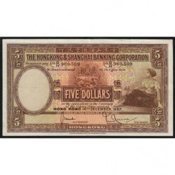 Hong Kong - Pick 180a - The H. S. B. C. - 5 dollars - 14/12/1957 - Etat : SUP