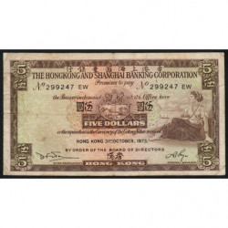Hong Kong - Pick 181f - The H. S. B. C. - 5 dollars - 31/10/1973 - Etat : TB