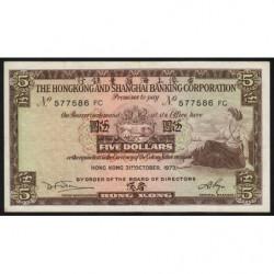 Hong Kong - Pick 181f - The H. S. B. C. - 5 dollars - 31/10/1973 - Etat : TTB