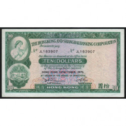 Hong Kong - Pick 182g - The H. S. B. C. - 10 dollars - 31/10/1973 - Etat : TTB+
