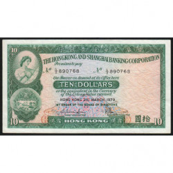 Hong Kong - Pick 182h2 - The H. S. B. C. - 10 dollars - 31/03/1979 - Etat : TTB