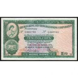Hong Kong - Pick 182h2 - The H. S. B. C. - 10 dollars - 31/03/1979 - Etat : TTB
