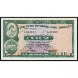 Hong Kong - Pick 182j - The H. S. B. C. - 10 dollars - 31/03/1983 - Etat : SUP