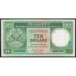 Hong Kong - Pick 191a - The H. S. B. C. - 10 dollars - 01/01/1986 - Etat : TTB