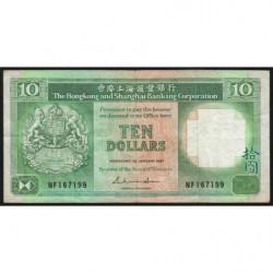 Hong Kong - Pick 191a - The H. S. B. C. - 10 dollars - 01/01/1987 - Etat : TB