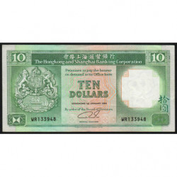 Hong Kong - Pick 191c1 - The H. S. B. C. - 10 dollars - 01/01/1989 - Etat : TTB