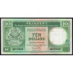 Hong Kong - Pick 191c1 - The H. S. B. C. - 10 dollars - 01/01/1989 - Etat : TTB