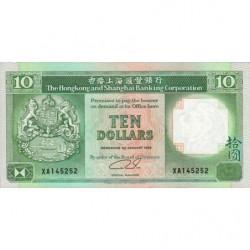 Hong Kong - Pick 191c1 - The H. S. B. C. - 10 dollars - 01/01/1989 - Etat : NEUF