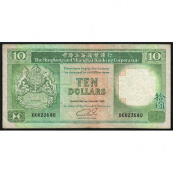 Hong Kong - Pick 191c1 - The H. S. B. C. - 10 dollars - 01/01/1989 - Etat : TB