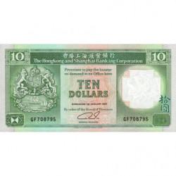 Hong Kong - Pick 191c2 - The H. S. B. C. - 10 dollars - 01/01/1991 - Etat : NEUF