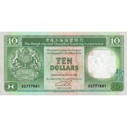 Hong Kong - Pick 191c2 - The H. S. B. C. - 10 dollars - 01/01/1992 - Etat : NEUF