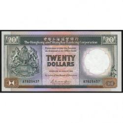 Hong Kong - Pick 192b - The H. S. B. C. - 20 dollars - 01/01/1988 - Etat : SUP+