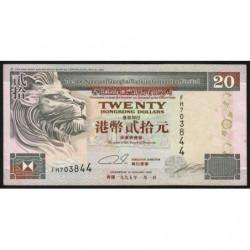 Hong Kong - Pick 201b1 - The H. S. B. C. Lim. - 20 dollars - 01/01/1995 - Etat : TTB+