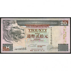 Hong Kong - Pick 201b2 - The H. S. B. C. Lim. - 20 dollars - 01/01/1996 - Etat : TTB+